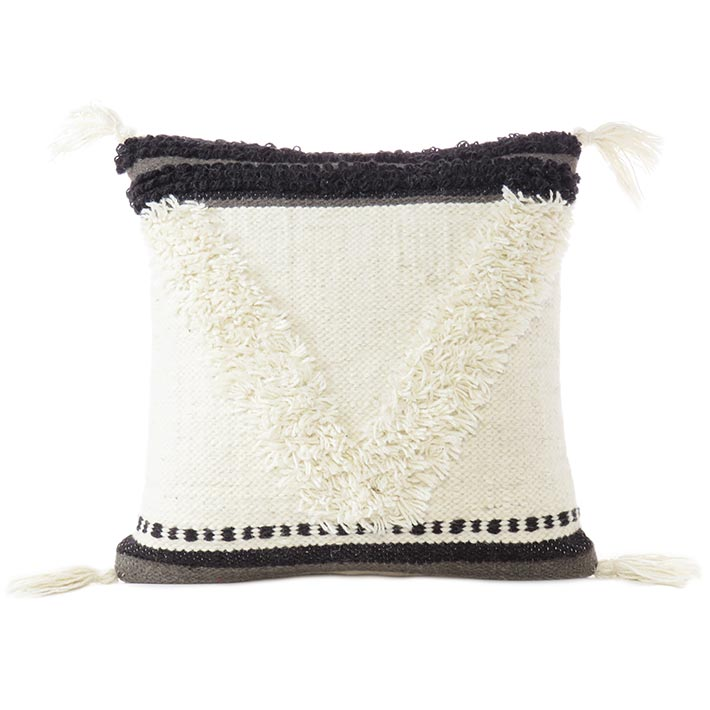 White Black Tufted Woven Fringe Pillow Sofa Throw Tassel Wool Embroidered on Cotton Cushion Cover - 20""