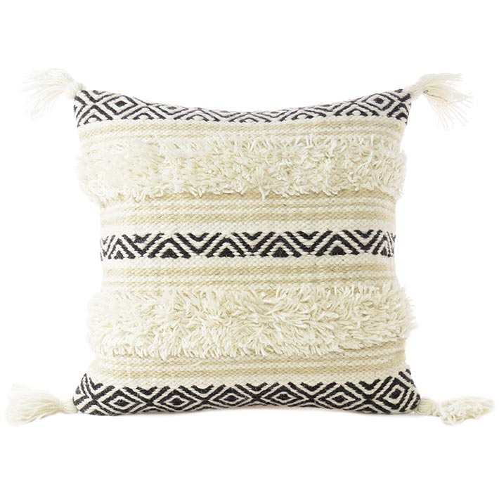 White Black Decorative Fringe Pillow Sofa Throw Tassel Wool Embroidered on Cotton Cushion Tufted Cover - 20""