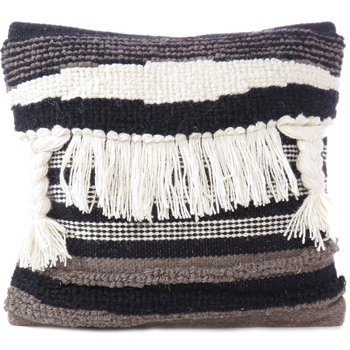 """White Black Colorful Tassel Wool Embroidered on Cotton Cushion Woven Tufted Fringe Pillow Sofa Throw Cover - 20"""""""