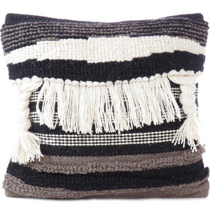 White Black Tassel Wool Cotton Cushion Woven Tufted Fringe Pillow Throw Cover - 20""