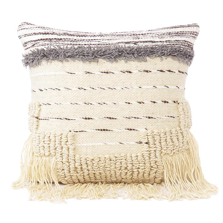 """White Black Colorful Tassel Wool Embroidered on Cotton Cushion Woven Fringe Pillow Sofa Throw Cover - 20"""""""