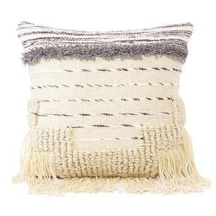 White Black Colorful Tassel Wool Embroidered on Cotton Cushion Woven Fringe Pillow Sofa Throw Cover - 20""