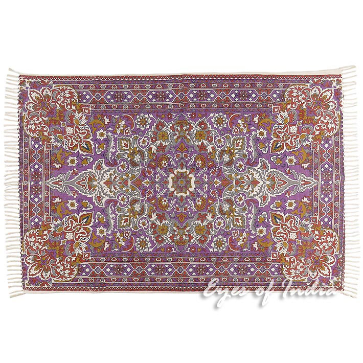 Purple persian indian oriental print printed area accent for Rugs with purple accents