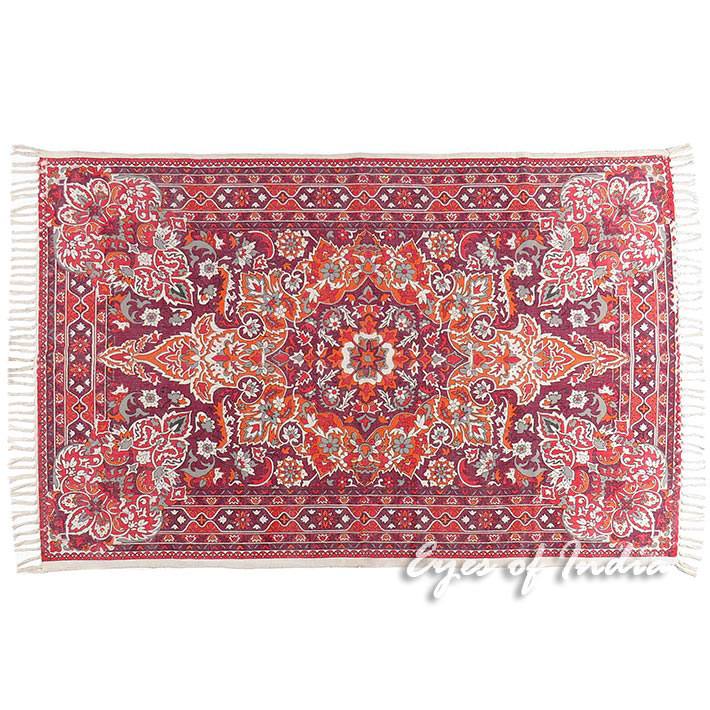 Burgundy Red Purple Persian Indian Oriental Print Printed Area Accent Rug Carpet Antique Clical 4 X 6 Ft