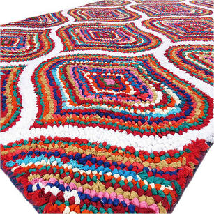 Multicolor Chindi Braided Colorful Woven Accent Area Rug Carpet - 3 X 5 ft