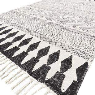 White Black Cotton Block Print Area Accent Dhurrie Bohemian Rug Flat Weave - 3 X 5 to 8 X 10 ft