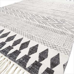 Off- White Black Cotton Block Print Area Accent Dhurrie Bohemian Rug Flat Weave - 3 X 5 to 8 X 10 ft
