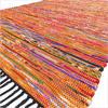 Orange Colorful Woven Boho Decorative Chindi Bohemian Area Rag Rug - 3 X 5, 4 X 6, 5 X 7 ft