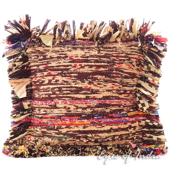 Brown Chindi Rag Rug Colorful Decorative Couch Cushion Bohemian Boho Pillow Sofa Throw Cover - 12""