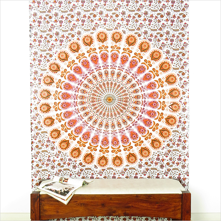 Orange White Bohemian Mandala Tapestry Wall Hanging Beach Booho - Small and Large
