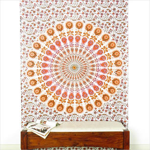 Orange Bohemian Mandala Tapestry Wall Hanging Beach Booho - Small and Large