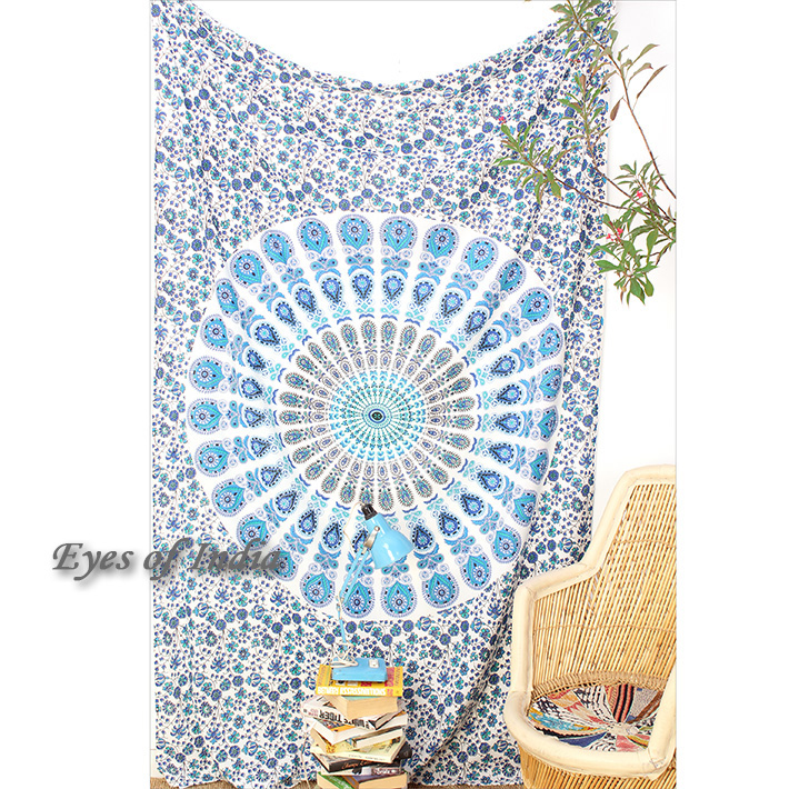 White Blue Elephant Mandala Bedspread Tapestry Art Beach Dorm - Small and Large