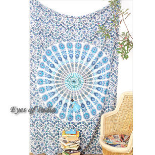 White Blue Elephant Indian Mandala Bedspread Tapestry Art Beach Dorm - Small and Large