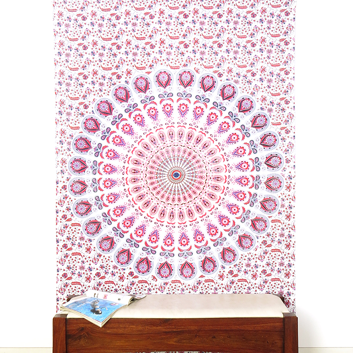 White Pink Elephant Mandala Tapestry Hanging Picnic Bohemian - Small and Large