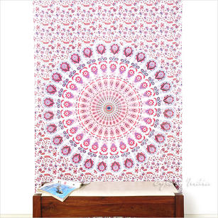 White Pink Indian Elephant Mandala Tapestry Hanging Picnic Bohemian - Small and Large