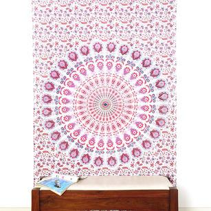 White Pink Elephant Mandala Tapestry Hanging Picnic Bohemian - Small and Large