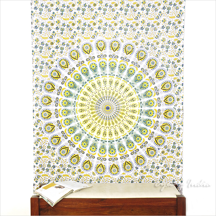 White Yellow Hippie Mandala Tapestry Art Bedspread Beach Dorm - Small and Large