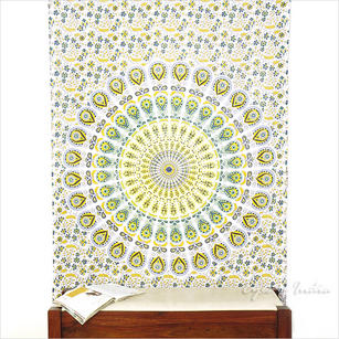 White Yellow Indian Hippie Mandala Tapestry Art Bedspread Beach Dorm - Single, Double