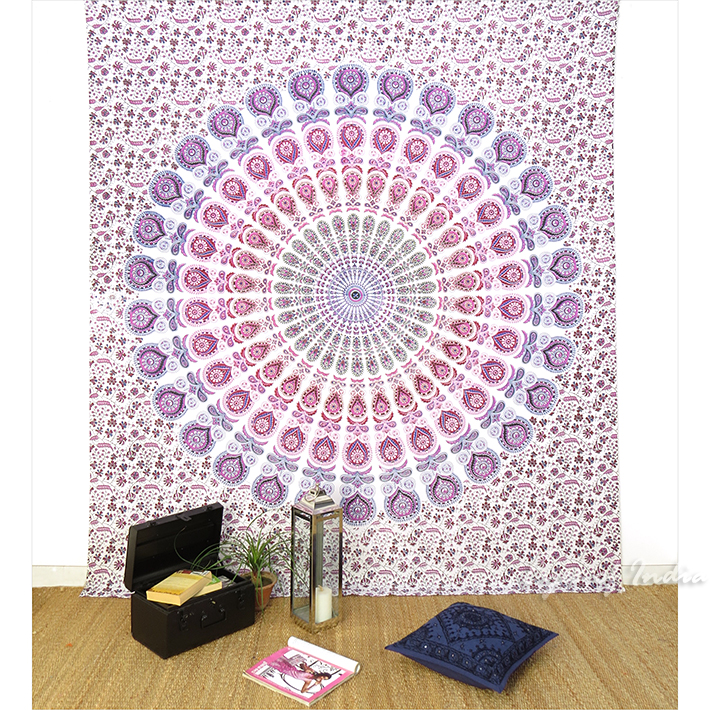 Purple Pink Hippie Indian Mandala Tapestry Hanging Picnic Bohemian Boho - Single, Double