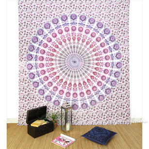 Purple Pink Hippie Indian Mandala Tapestry Hanging Picnic Bohemian Boho - Small and Large