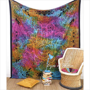 Queen Colorful Hamsa Hippie Peace Tapestry Bedspread Wall Hanging Beach Boho Bohemian - Queen/Double