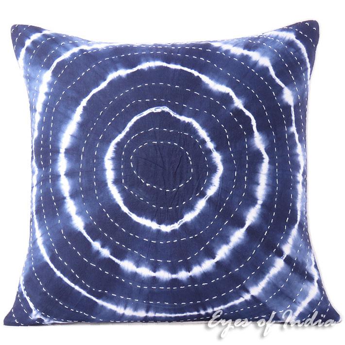"Indigo Blue Bohemian Kantha Cushion Shibori Colorful Decorative Couch Pillow Throw Boho Cover Sofa - 20"""