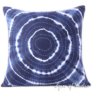 Indigo Blue Bohemian Kantha Cushion Shibori Colorful Decorative Couch Pillow Throw Boho Cover Sofa - 20""