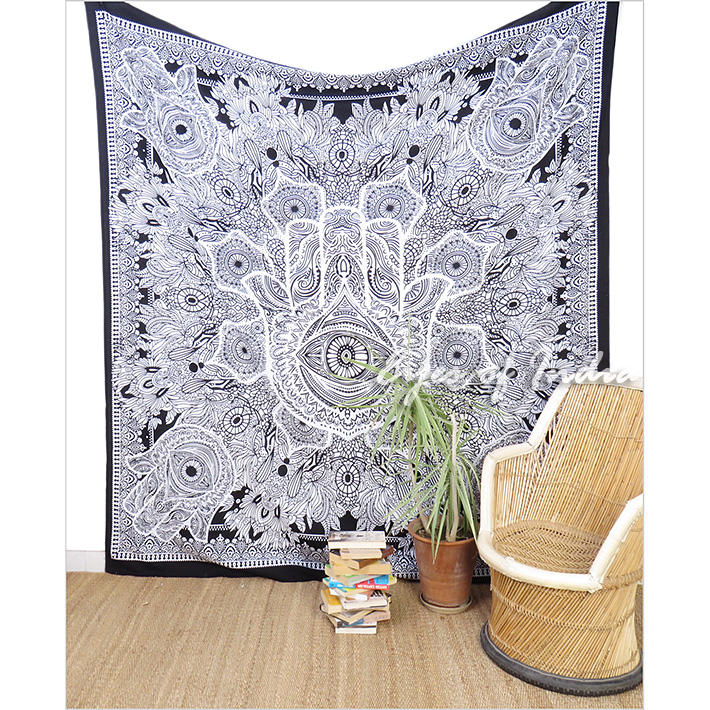 Black & White Hamsa Hippie Peace Tapestry Bedspread Wall Hanging Beach Boho Bohemian - Single, Double