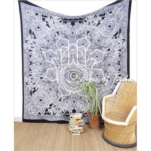 Black White Hamsa Hippie Peace Tapestry Bedspread Wall Hanging Beach Boho Bohemian - Single, Double