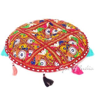 Burgundy Patchwork Decorative Rajkoti Round Floor Meditation Pillow Boho Cushion Seating Throw Cover - 17""