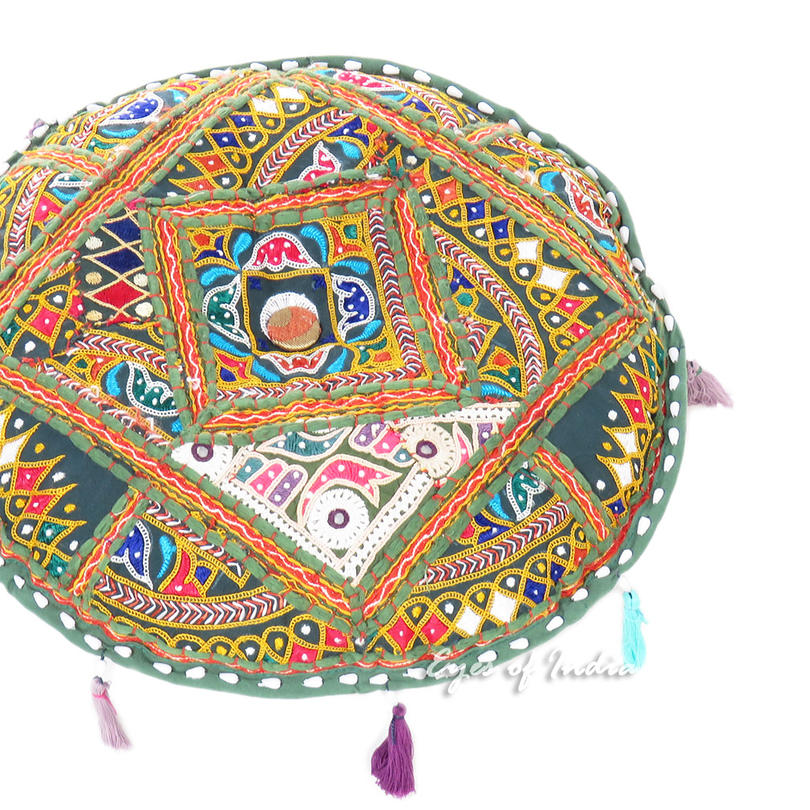 Round Green Boho Patchwork Colorful Floor Cushion Bohemian Seating Meditation Pillow Throw Cover - 17""