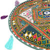 "Round Green Boho Patchwork Colorful Floor Cushion Bohemian Seating Meditation Pillow Throw Cover - 17"" 2"