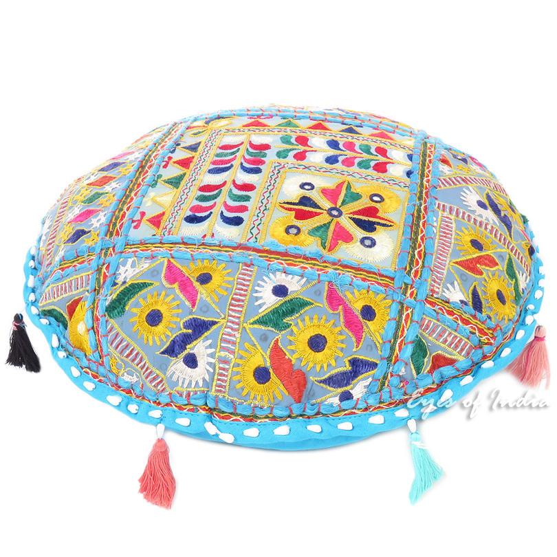 "Blue Decorative Rajkoti Patchwork Round Floor Cushion Seating Meditation Pillow Bohemian Throw Cover - 17"""