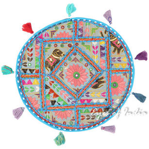 Blue Boho Decorative Patchwork Round Floor Cushion Seating Meditation Pillow Bohemian Throw Cover - 17""