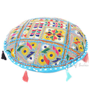 Blue Decorative Rajkoti Patchwork Round Floor Cushion Seating Meditation Pillow Bohemian Throw Cover - 17""