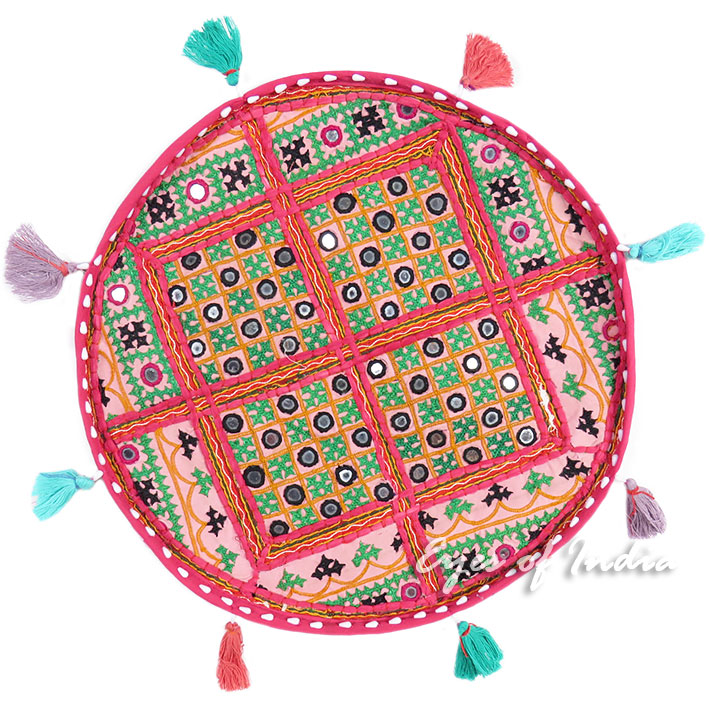 Pink Round Floor Meditation Boho Pillow Bohemian Decorative Cushion Seating Throw Cover Patchwork - 17""