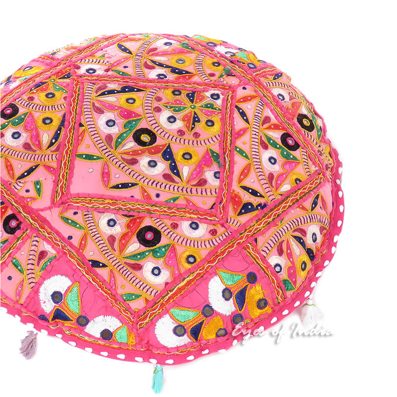 "Pink Round Floor Meditation Boho Pillow Bohemian Decorative Rajkoti Cushion Seating Throw Cover Patchwork - 17"""
