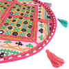 "Pink Round Floor Meditation Boho Pillow Bohemian Decorative Cushion Seating Throw Cover Patchwork - 17"" 2"