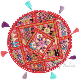 Round Red Patchwork Decorative Bohemian Colorful Floor Cushion Seating Meditation Pillow Throw Cover - 17""