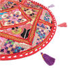 "Round Red Patchwork Decorative Colorful Floor Cushion Seating Meditation Pillow Throw Cover - 17"" 2"