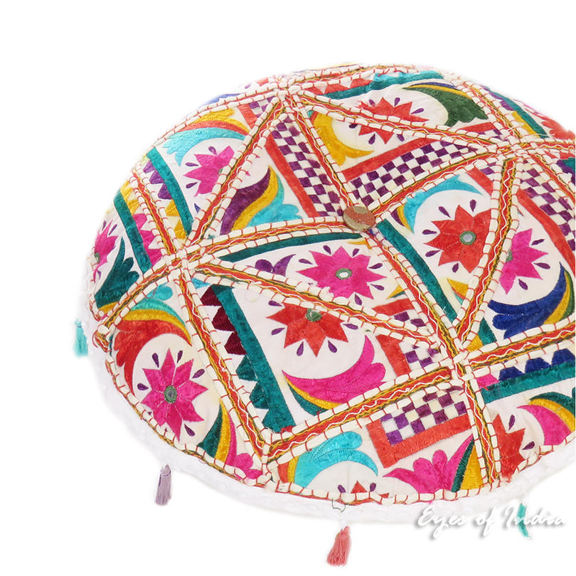 White Bohemian Decorative Rajkoti Patchwork Boho Round Floor Cushion Meditation Pillow Throw Cover - 17""