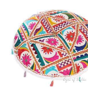 "White Bohemian Decorative Rajkoti Patchwork Boho Round Floor Cushion Meditation Pillow Throw Cover - 17"""