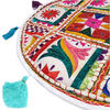 "White Bohemian Decorative Patchwork Boho Round Floor Cushion Seating Meditation Pillow Throw Cover - 17"" 2"