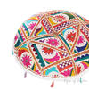 "White Bohemian Decorative Patchwork Boho Round Floor Cushion Seating Meditation Pillow Throw Cover - 17"" 1"