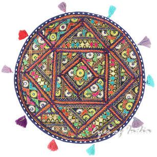 "Round Colorful Boho Blue Decorative Bohemian Patchwork Floor Meditation Pillow Throw Cover - 22"""