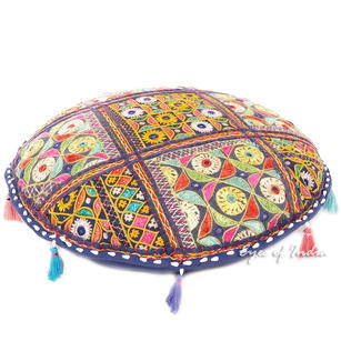 Round Colorful Boho Blue Decorative Rajkoti Bohemian Patchwork Floor Meditation Pillow Throw Cover - 22""
