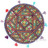 "Round Colorful Boho Blue Decorative Bohemian Patchwork Floor Meditation Pillow Throw Cover - 22"" 1"