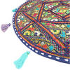 "Round Colorful Boho Blue Decorative Bohemian Patchwork Floor Meditation Pillow Throw Cover - 22"" 2"