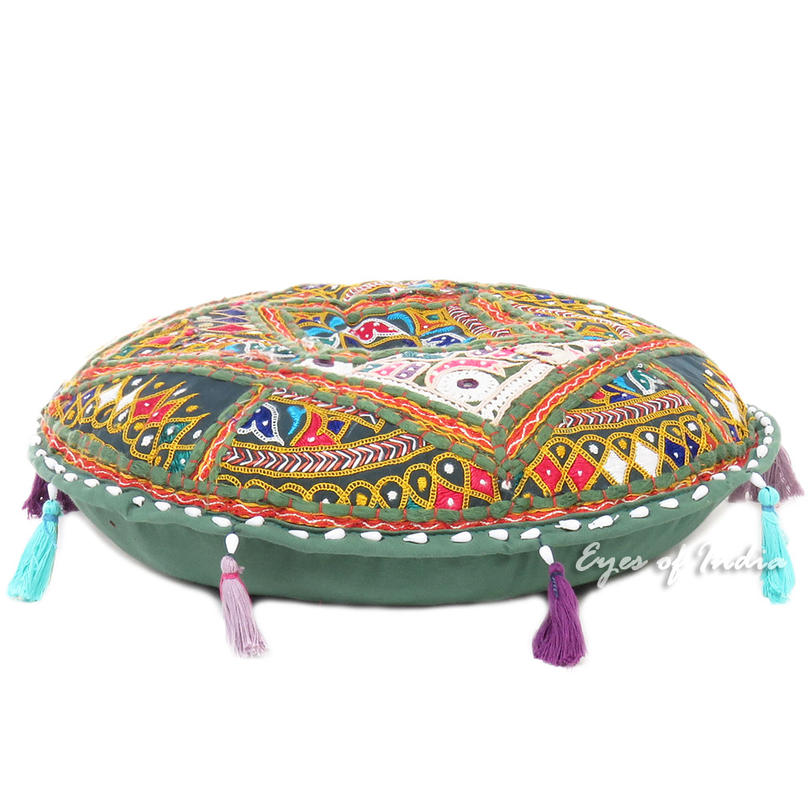 Round Colorful Green Boho Patchwork Decorative Rajkoti Floor Meditation Pillow Bohemian Throw Cover - 22""