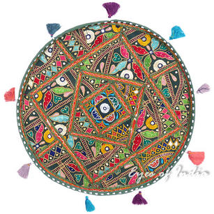Round Colorful Green Boho Patchwork Decorative Floor Meditation Pillow Bohemian Throw Cover - 22""
